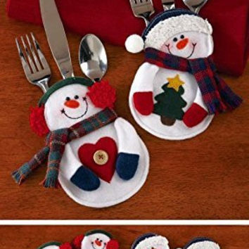 White Winter Snowman Holiday Christmas Table Silverware Holders 8 Pc Set