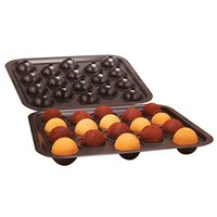 Cake Pop Mold, Brownie Ball Shape Maker Baking Pan, Non-Stick Bakeware Set w/ 18 lollipop Sticks