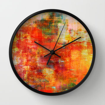 AUTUMN HARVEST - Fall Colorful Abstract Textural Painting Warm Red Orange Yellow Green Thanksgiving Wall Clock by EbiEmporium