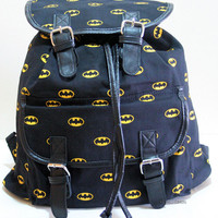 NEW DC COMICS BATMAN BAT MAN DARK KNIGHT LOGO  Slouch Buckle Book Bag Backpack