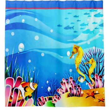 Underwater Seahorses, Fish and Coral Shower Curtain