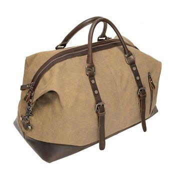ECOSUSI Vintage Canvas Sport Tote Gym Bag Overnight Shoulder Bag Weekend Travel Duffel Bag