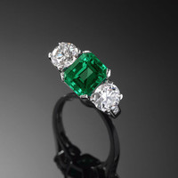 Contemporary and Estate Jewlery, Colombian Emeralds, Emerald and Diamond Ring ~ M.S. Rau Antiques