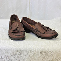 Weejuns Bass womens penny loafers / size 9 M / Brazilian made leather loafers / brown leather tassel loafers /  SunnyBohoVintage