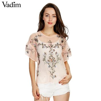 Women sexy flower embroidery ruffles mesh shirts see through transparent short sleeve blouse ladies casual tops blusas DT992