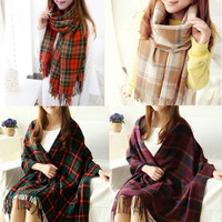 Women's Fashion Autumn/Winter Thick Cashmere Shawl Scarves Student Long Section Tassel Plaid Scarf MMF = 1957928644
