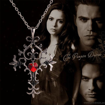 The Vampire Diaries Necklace Memorial Cross Pendant Red Sacred Heart