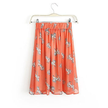 Summer Chiffon Print Trojan Cartoons Skirt [6047717697]
