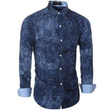 Camisa Denim Hombre Printing Long Sleeve Youth Slim Fit Denim Camiseta Masculina Mens Shirt Fashion Tops #C729