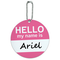 Ariel Hello My Name Is Round ID Card Luggage Tag