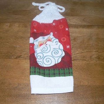 Round Red Santa Hanging Dish Towel With Hand Knit Topper and Ties
