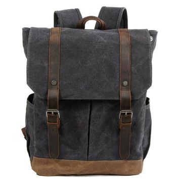 Student Backpack Children New On sale Men's Crazy Horse Waxed Canvas Waterproof Coffe Light grey Cover Vintage style Laptop travel students backpack AT_49_3