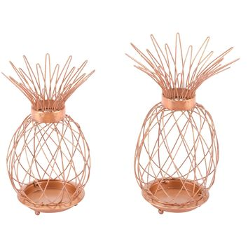 Copper Pineapple Candle Holders (Set of 2)