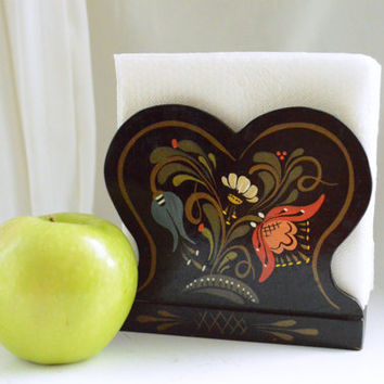 Hand Painted Vintage Kitchen Decor - Black Floral Tole Napkin Holder