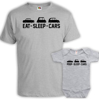 Father Son Matching Shirts Daddy And Son Shirts Matching Family Outfits Dad Gifts Eat Sleep Cars Pop Sleep Cars Baby Bodysuit MAT-700-701