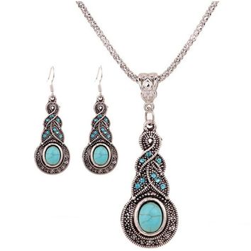 Blue Crystal Beads Peacock Pendant Necklace Sets &amp Round Jewelry Sets
