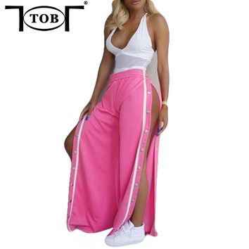 TOB 2017 new summer high waist hight split rivet women pants style selvedge sexy casual pants female trousers QQ023