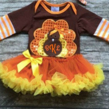 Baby Girl Thanksgiving Outfit, Turkey Onesuit, Thanksgiving Tutu, Personalized, Monogrammed, 3 month, 6 month, 12 month, 18 month Turkey Tutu
