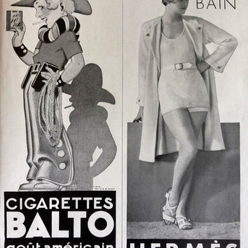 HERMES swimsuits vintage advertising, French magazine ad Cigarettes Balto Hermes poster, original art deco ad, retro poster for framing