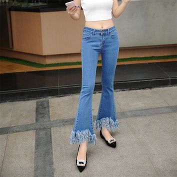 Tassel Edge Ankle Length Flared Jeans