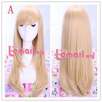 55cm long 4 colors Anime straight Smooth Cosplay wig cw143+free cap