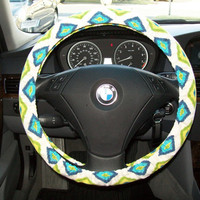 Diamonds in Blue and Green Steering Wheel Cover