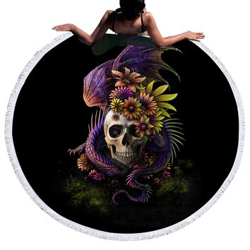 Flowery Skull by SunimaArt Large Round Beach Towel Serviette De Plage With Tassel Blanket Summer Toalla Sunblock Hot