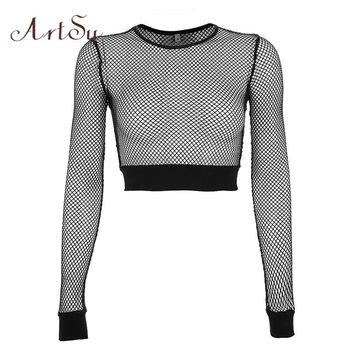 ArtSu Fall Mesh Top Sexy Clubwear Long Sleeve Hollow Out Crop Top Fishnet Black Womens Tee Shirts T-shirt Femme ASTS20498