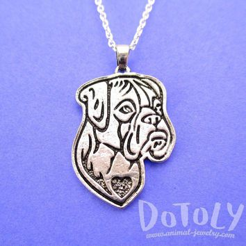 Boxer Puppy Dog Portrait Pendant Necklace in Silver | Animal Jewelry