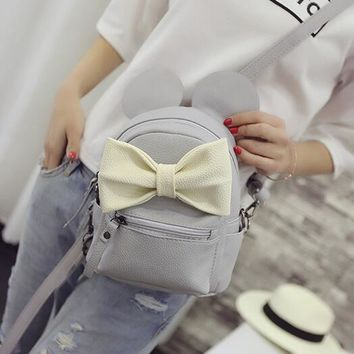 Mickey Backpack New Female bag Quality pu leather Women bag Mickey ears Big bow Sweet girl Shoulder bag Parent-child Travel bag