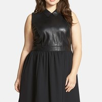 Plus Size Women's Sejour Leather Detail Sleeveless Mixed Media Fit & Flare Dress,