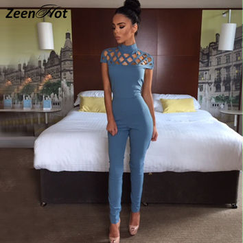 2016 Red Women Bodysuit Rompers Womens Jumpsuit short sleeve Sexy Hollow Out Bodycon long jumpsuits for women