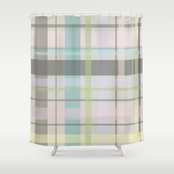 Pastel Plaid Shower Curtain by GoAti