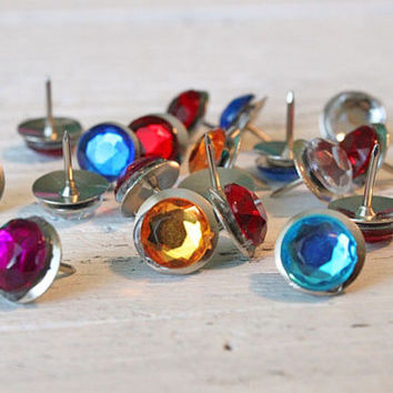 Thumb Tacks Rhinestone Push Pins Dorm Room Bulletin Board Rhinestone Thumbtacks -  Set of 20