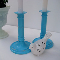 Vintage brass Candlesticks, Set of two painted candle holders, Turquoise blue cottage chic, Up scaled, Wedding decor