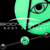 Black Glow in the Dark Plain All Seeing Eye Industrial Barbell | Body Candy Body Jewelry