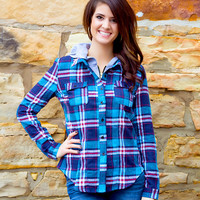 Drop The Tailgate Plaid Hooded Flannel // Blue & Red
