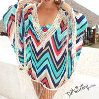 "Demi Loon Native Zig Zag Fringed Kimono Caftan Boho Retro Hippie Tunic Coverup bikini cover up poncho dress ~ One SIze ""ON SALE"""