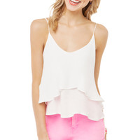 Flowy Ruffle Crop Top in White