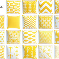 Yellow Couch Pillow Covers 19 Fabrics 7 Sizes Decorative Throw Pillows Sofa Pillow