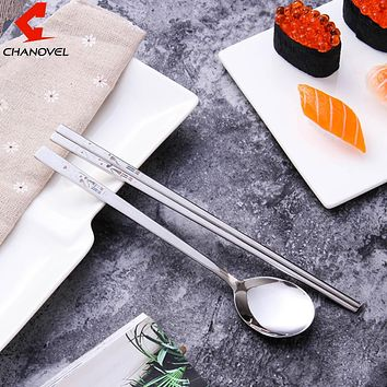 Portable 304 Stainless Steel Korean Dinnerware Sets Personalized Laser Engraving Patterns Square With Gift Bag