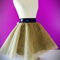 Gold glitter tulle skirt / performance / dance wear competition / drag queen