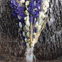 Purple Rustic Wedding Bouquet- Purple and White Larkspur Bouquet, Blond Wheat Bouquet, Phalaris, Natural Linen Fabric and Lace Ribbon, Twine