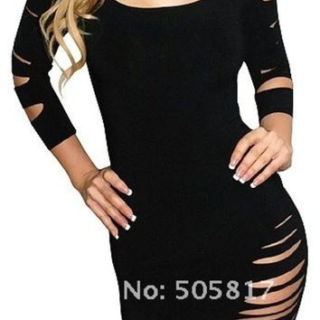 LMFUG3 2 color Sexy round neck cut long sleeve costume fancy dress Hot women mini clubbing night KTV wear Summer dresses dress red black = 1945729668
