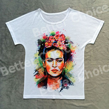 Track Ship+Vintage Retro Good Feeling T-shirt Top Tee Mexico Artist Painter Magdalena Carmen Frida Kahlo 0661