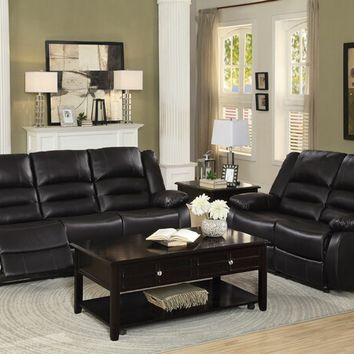 Home Elegance 8329BRW-SL 2 pc jarita collection brown bi cast vinyl upholstered sofa and love seat with recliner ends