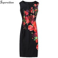 Soperwillton 2018 New Brand Dress Summer Women High Quality Printing bodycon bandage Business work office Women's Dresses #A764