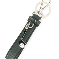 Saffiano Golf Charm Key Chain, Green - Prada