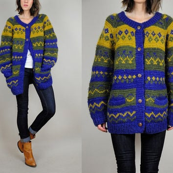WOOL ethnic 80's SWEATER cardigan chevron STRIPED Native jumper slouchy cozy Large