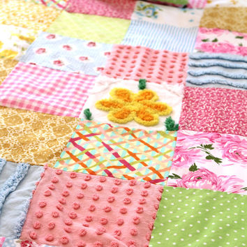 Chenille Quilt - Nursery Bedding - Baby Quilt - Nursery Bedding - Lap Quilt - Patchwork - Crib Quilt - Shabby Chic Nursery - Cottage Chic